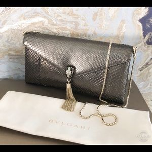 Bvlgari Bulgari Snakeskin Cocktail Chain ClutchBag